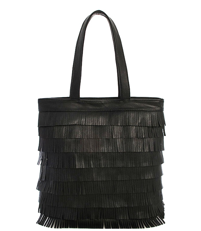 Karlie Fringy Fringe Fashion Tote Handbag Black