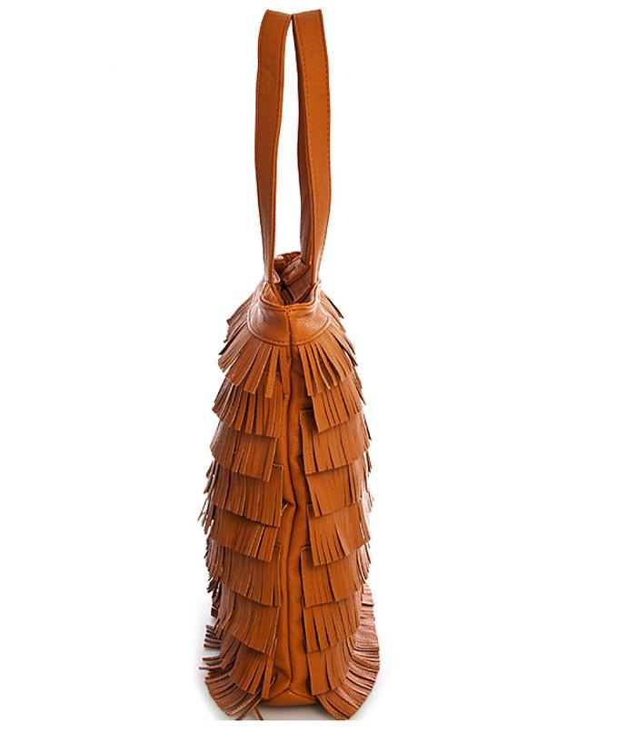 Fringe Handbag Tan S