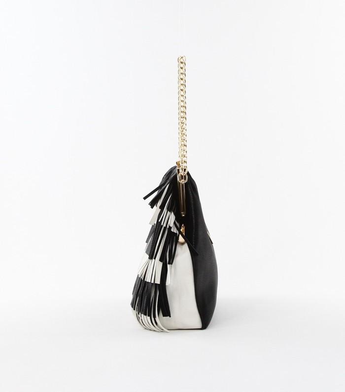 Color Block Fringe Chain Strap Bag Black2