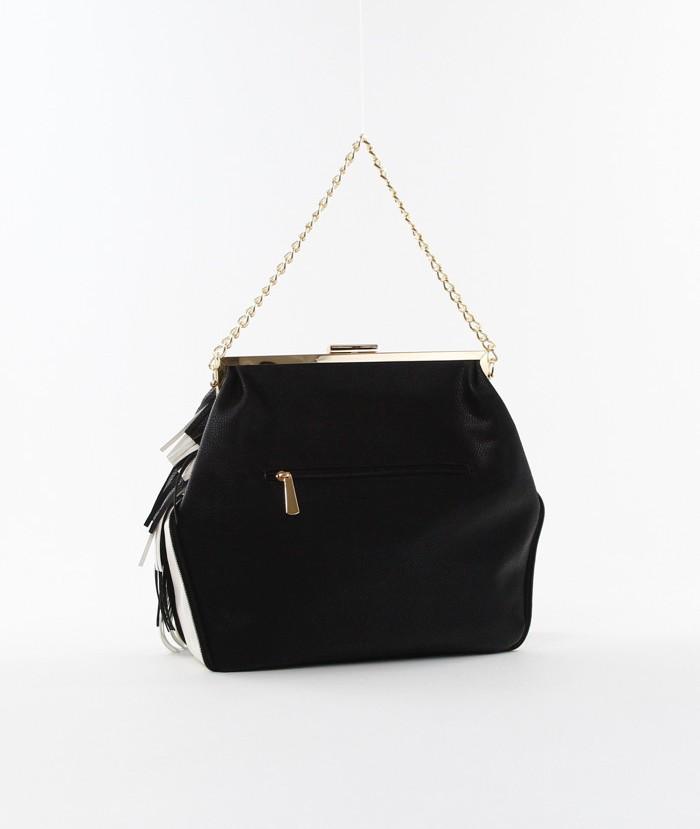 Color Block Fringe Chain Strap Bag Black3