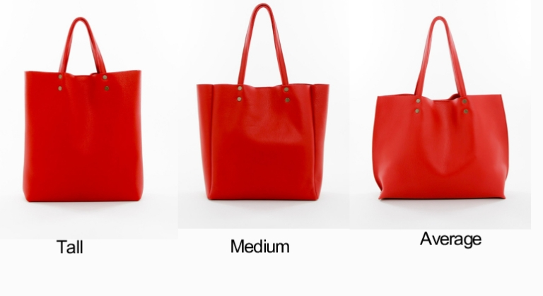 Genuine Leather Tote Sizes Red