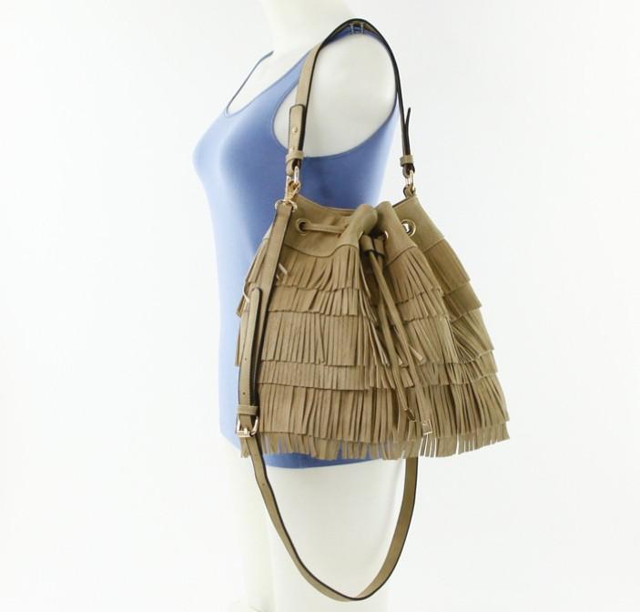 Kia Fringe Drawstring Hobo Bag Stone4
