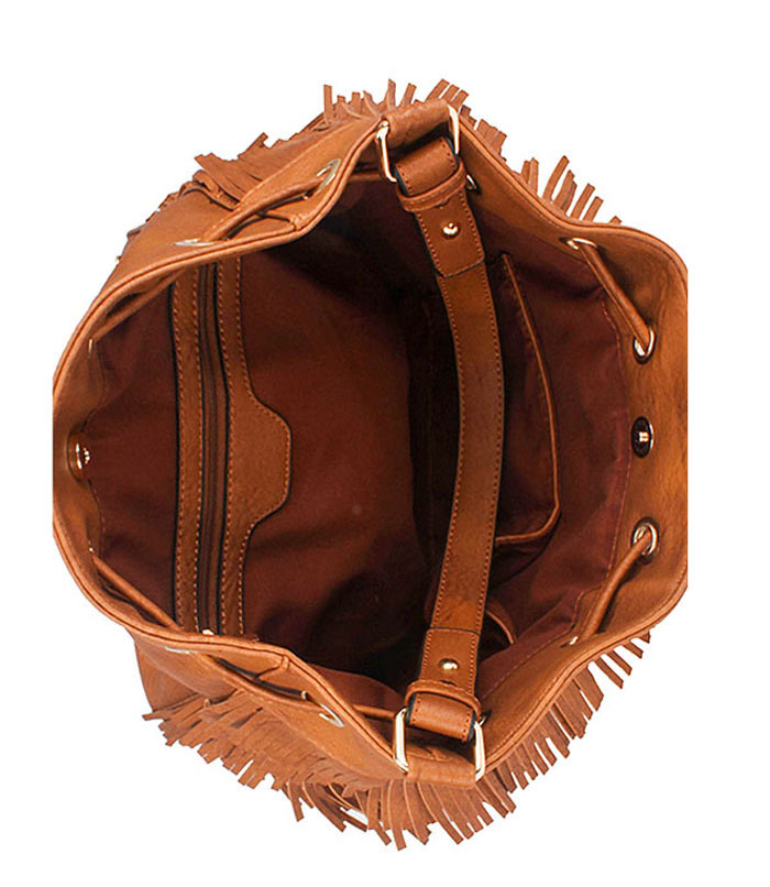 Kia Fringe Drawstring Hobo Bag Tan2