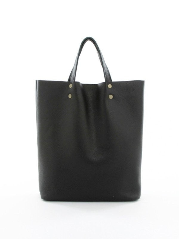 Leather Tote Tall Black