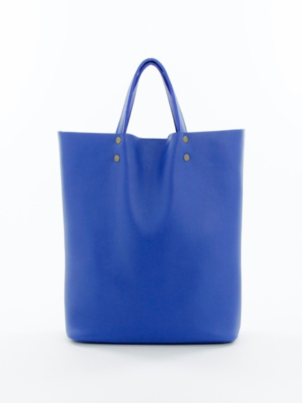 Leather Tote Tall Royal Blue
