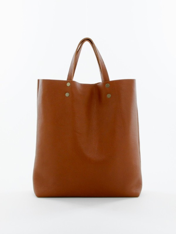 Leather Tote Tall Brown