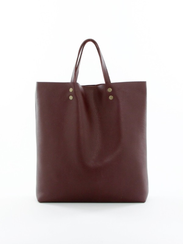 Leather Tote Tall Burgundy