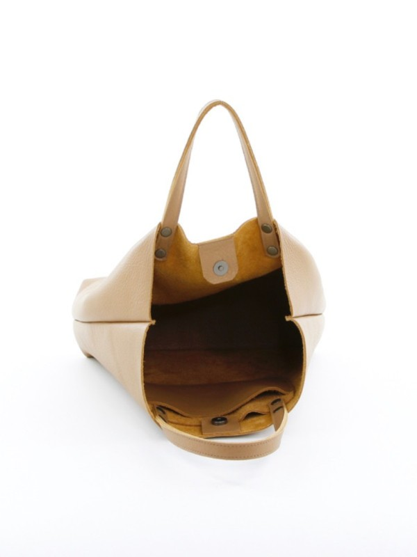 Leather Tote Tall Camel