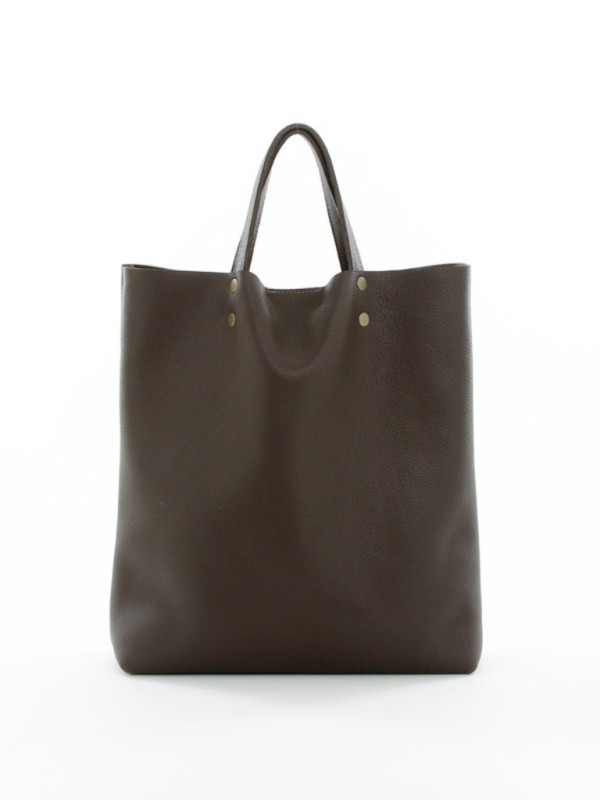 Leather Tote Tall Coffee F