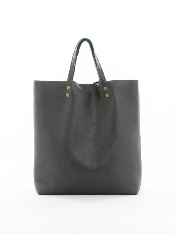 Leather Tote Tall Gray F