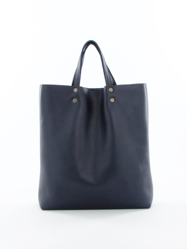Leather Tote Tall Navy