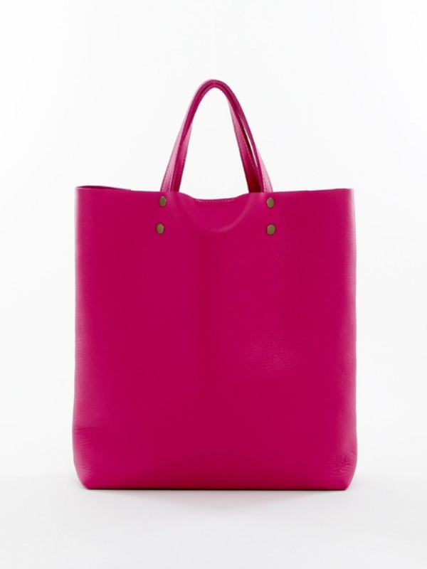 Leather Tote Tall Pink F