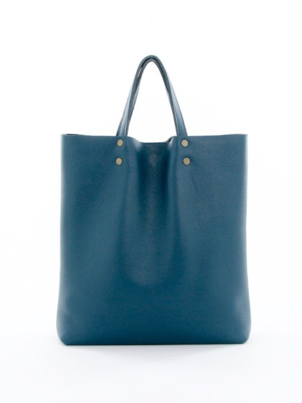 Leather Tote Tall Teal