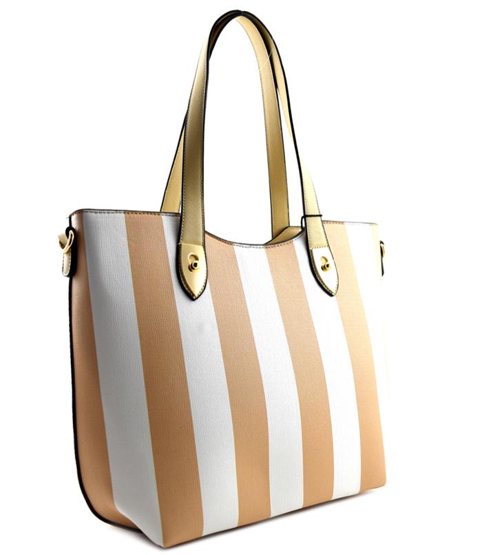 Beverly Vertical Striped Bag Handbag Beige2