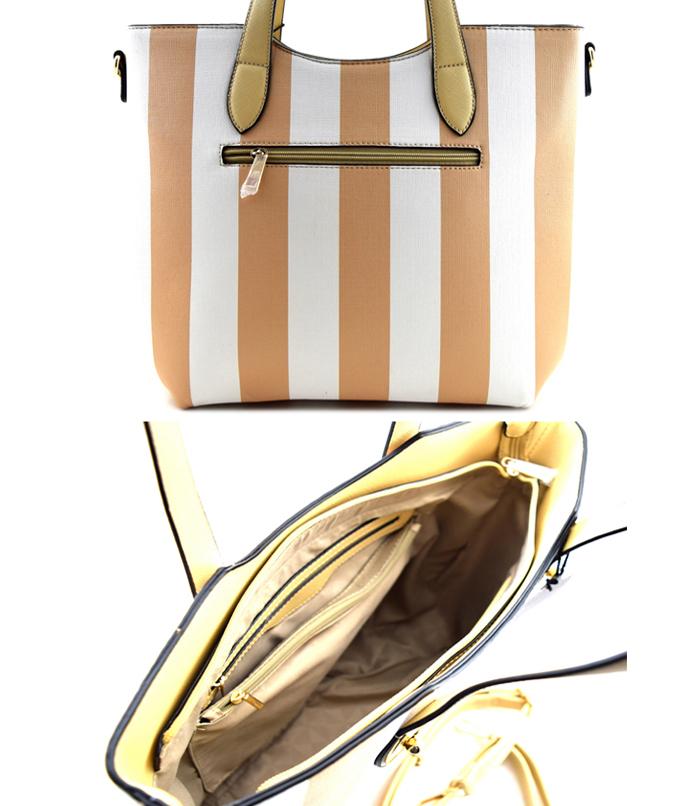 Beverly Vertical Striped Bag Handbag Beige3