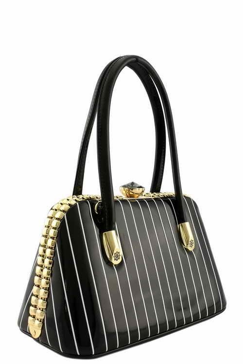 Gigi Pin Stripe Handbag XSmall Black2