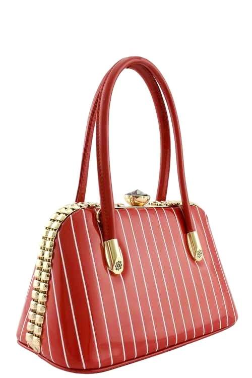 Gigi Pin Stripe Handbag XSmall Red3a