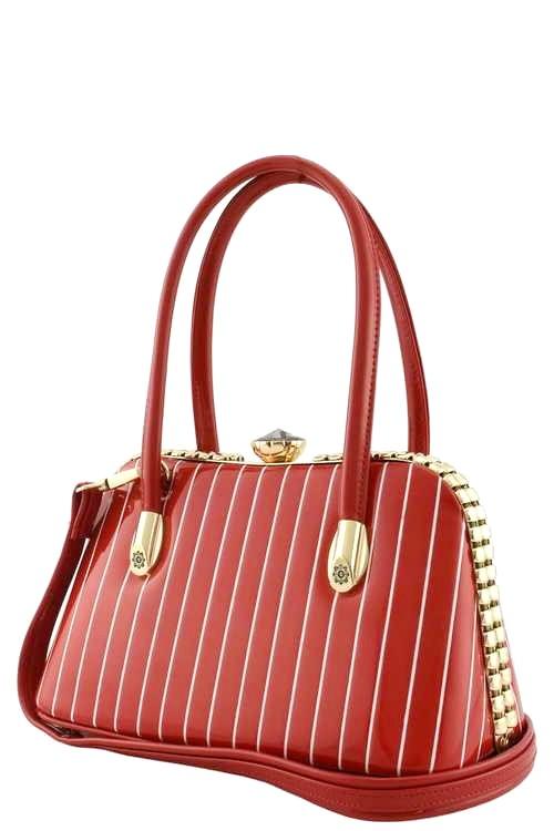 Gigi Pin Stripe Handbag XSmall Red4a