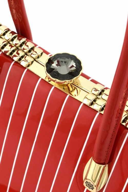 Gigi Pin Stripe Handbag XSmall Red5