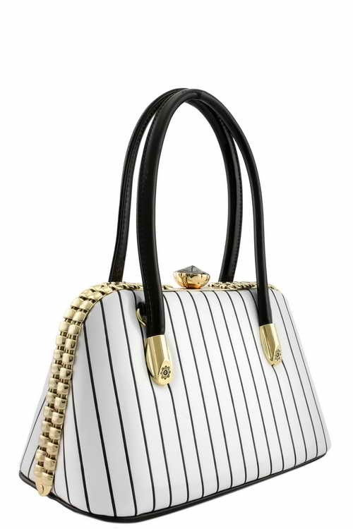 Gigi Pin Stripe Handbag XSmall White2