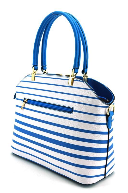 Mia Pin Stripe Handbag large lgt blue