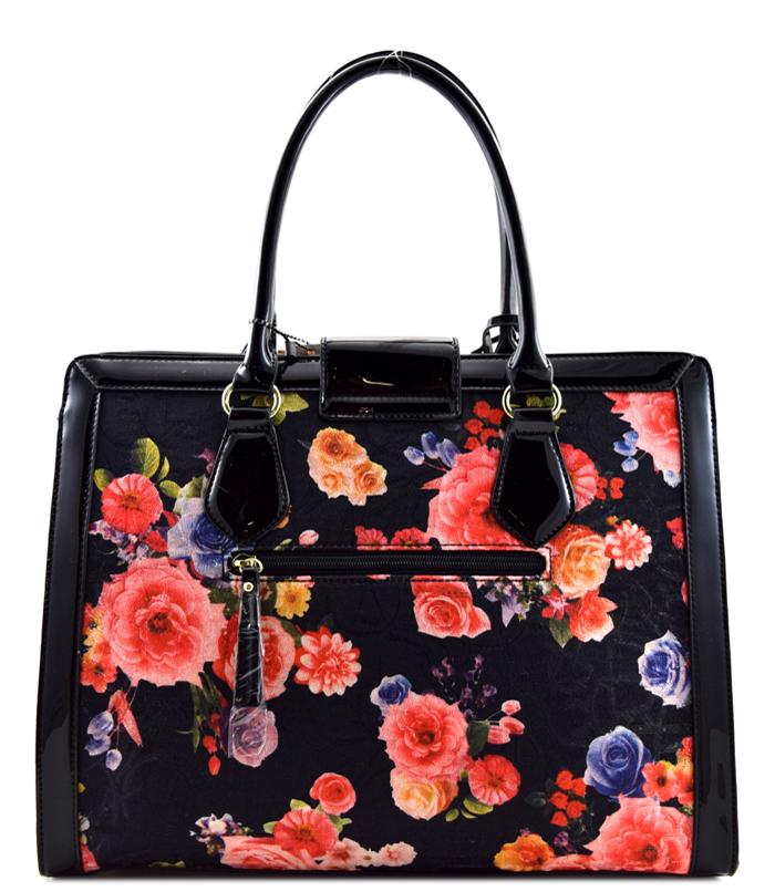 Tia Floral Handbag Square Black2