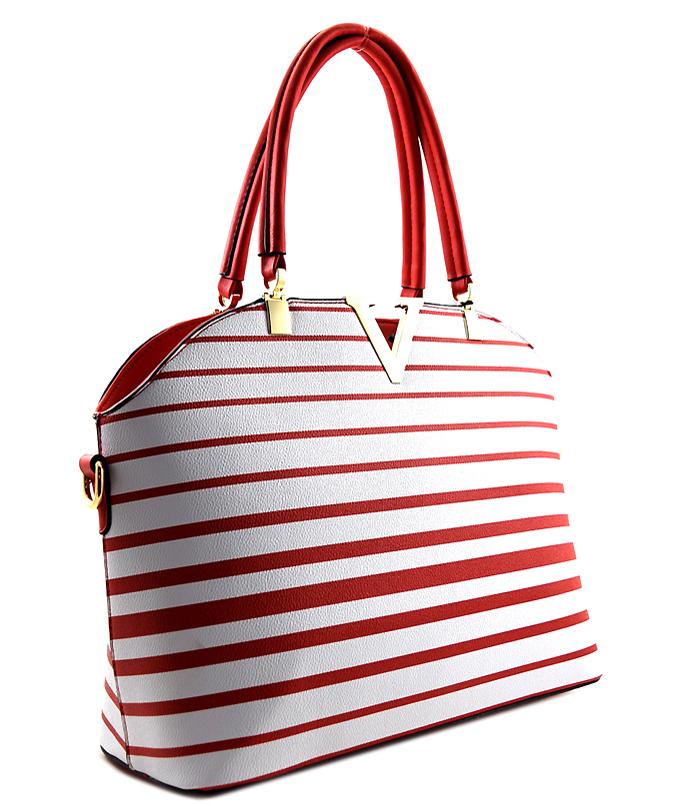 Zoe Pin Stripe Handbag Large Red2