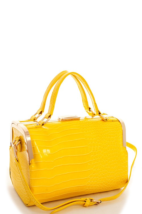 Aurora Crocodile Boston Bag Yellow2
