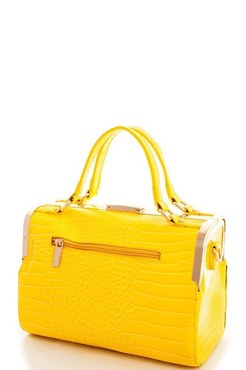 Aurora Crocodile Boston Bag Yellow4