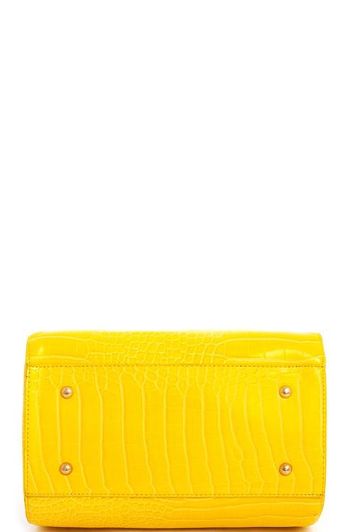 Aurora Crocodile Boston Bag Yellow5