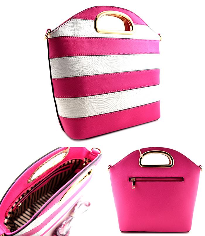 Elizabeth Bucket Stripe Bag Fuchsia2