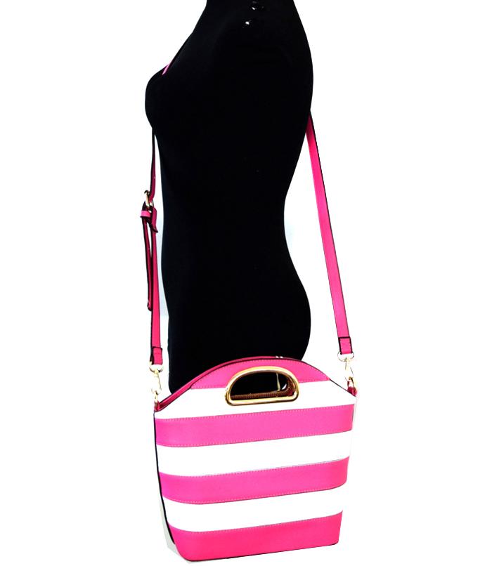 Elizabeth Bucket Stripe Bag Fuchsia3