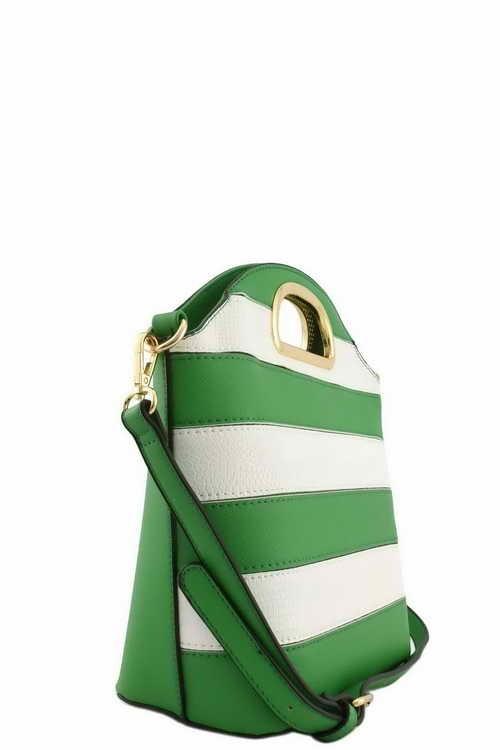 Elizabeth Bucket Stripe Bag Green2