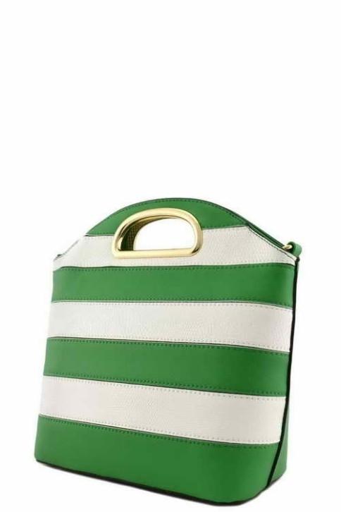 Elizabeth Bucket Stripe Bag Green3