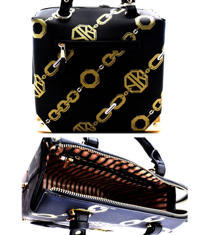 Abigail Box Chain link Handbag Black2