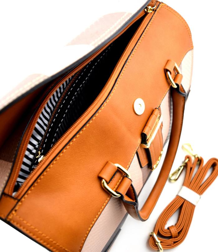 Olivia Plaid 2n1 Bag Tan2