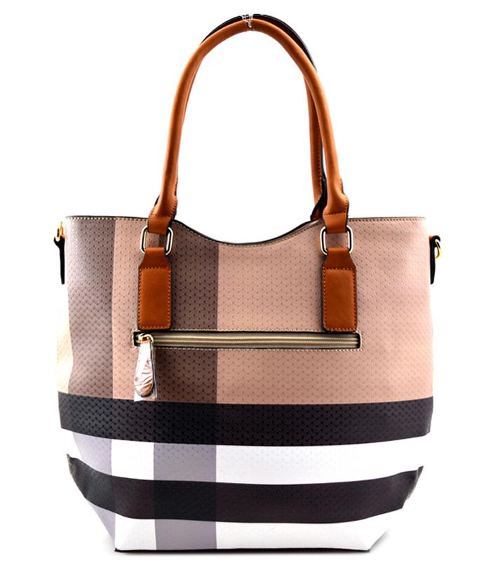 Olivia Plaid 2n1 Tote Bag Tan3