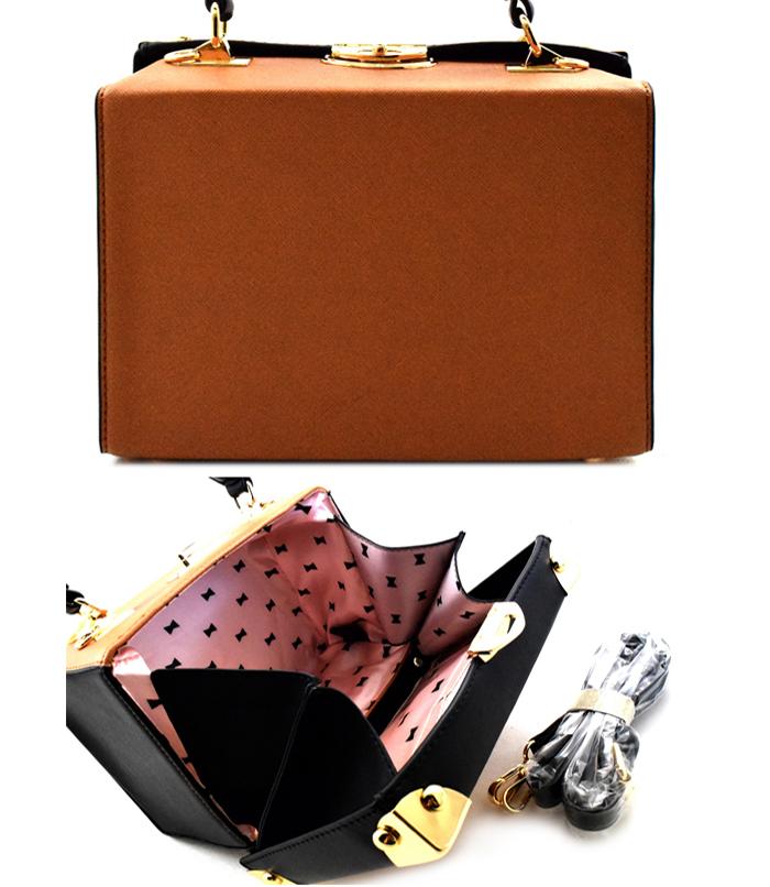 Rachel Studded Box Handbag Brown3