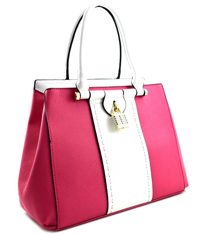 Regina Color Block Handbag Fuchsia2