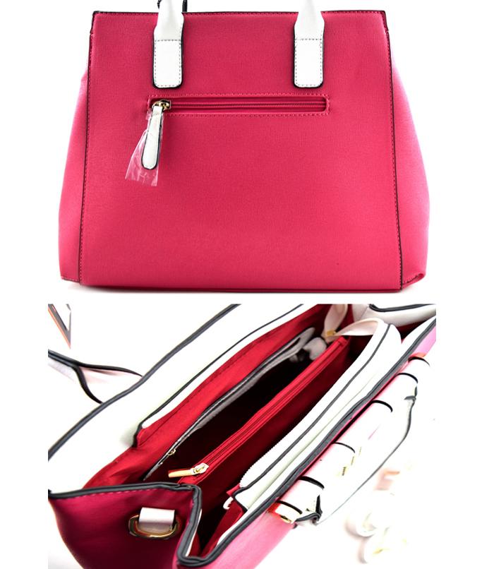 Regina Color Block Handbag Fuchsia3