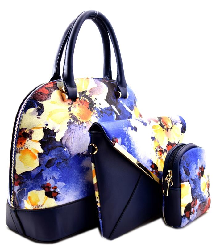 Roma Floral 3n1 Handbag Blue