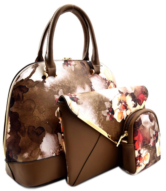 Roma Floral 3n1 Handbag Brown