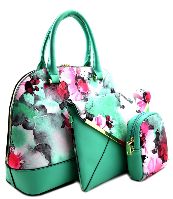 Roma Floral 3n1 Handbag Green1