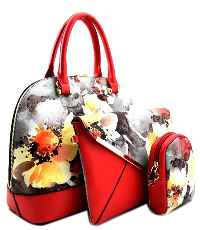 Roma Floral 3n1 Handbag Red