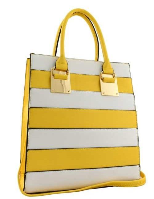 Zina Color Block Tote Yellow2
