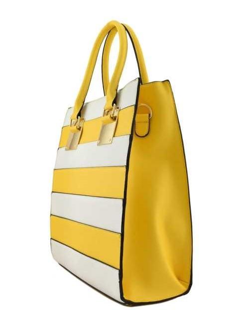 Zina Color Block Tote Yellow3