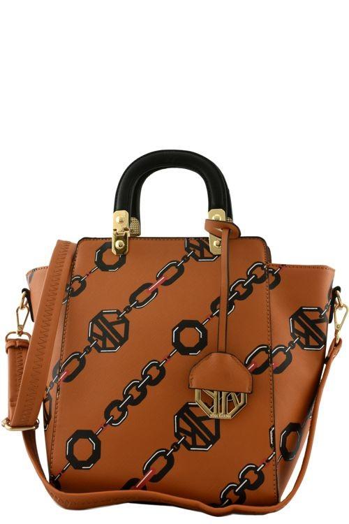 Abigail Barona Linked Chain Handbag Tan2