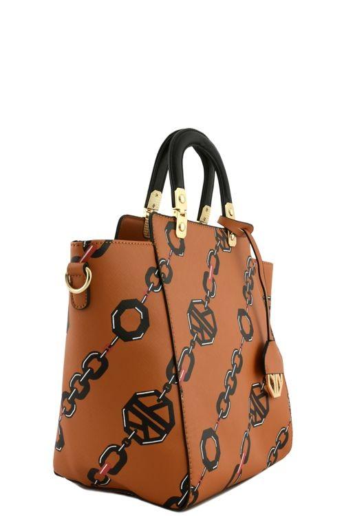 Abigail Barona Linked Chain Handbag Tan3