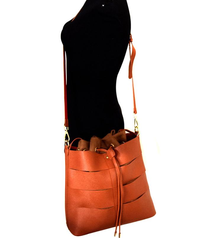 Autumn Drawstring Hobo Bag Brown2