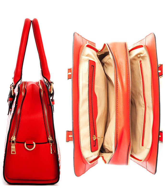 Carmen Coachella Houndstooth Bag Red3